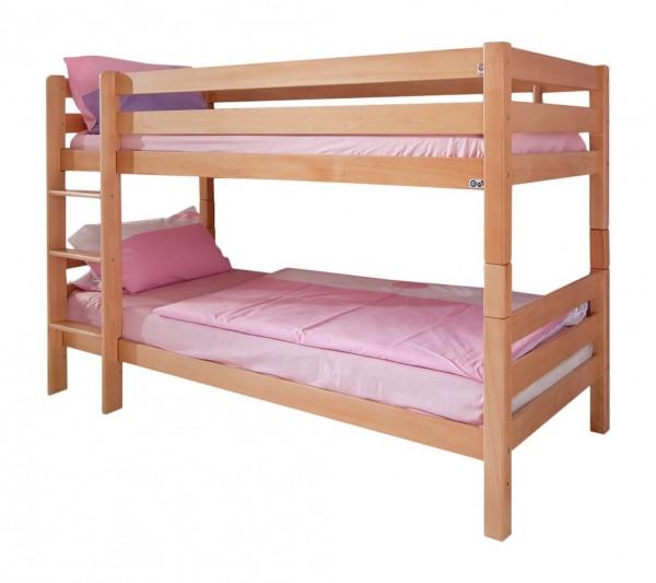 Etagenbett 90x200 cm Beni Buche massiv Natur Kinderbett mit Rollrost