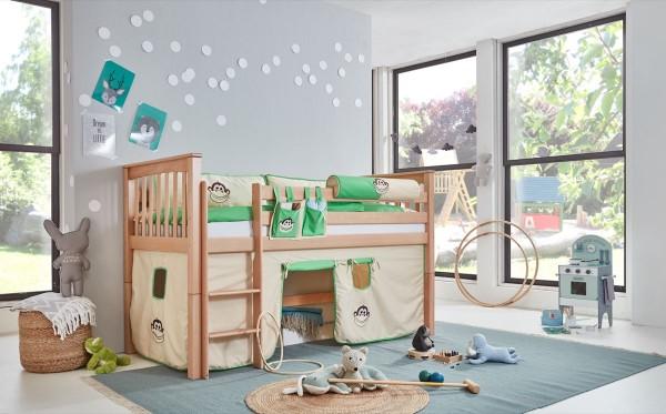 Hochbett Kinderbett Kick 90x200 cm Buche massiv Natur