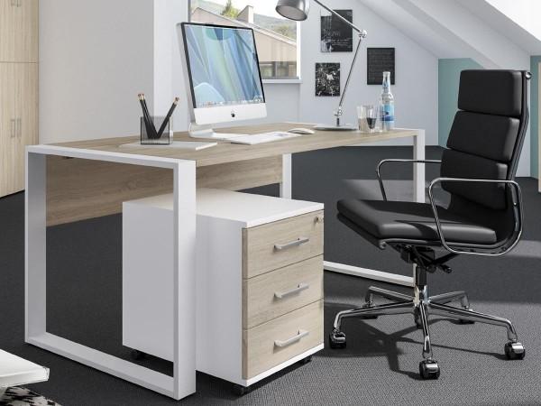 Schreibtischset 150 cm + Rollcontainer direct Dekor Sonoma Eiche mit Kufenfuß