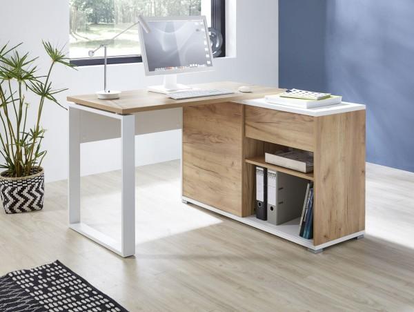 Schreibtisch Leo Weiss Eiche Dekor 120cm breit