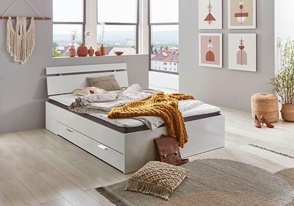 Relita Futonbett MAXIME weiß mit Kopfteil LIAN, Bettkasten, Rollrost und Matratze 140x200cm