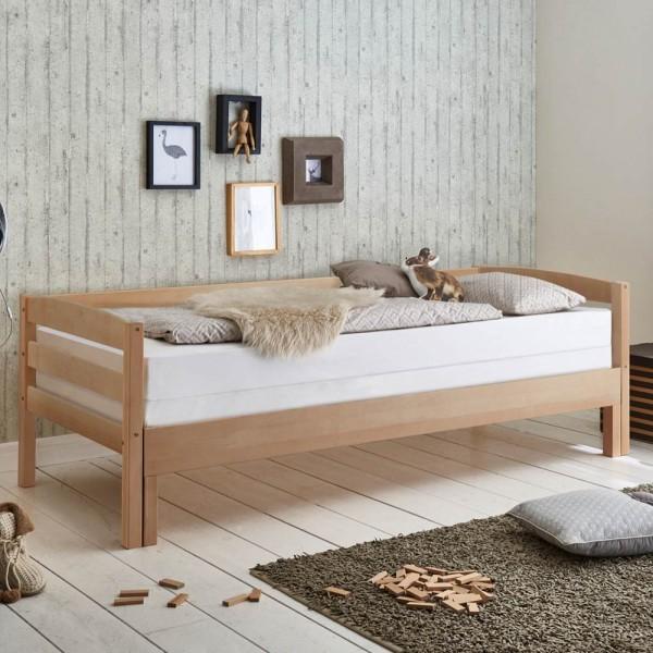 Kinderbett Emilia ausziehbar 90/180 x 200cm Funktionsbett Buche massiv Natur