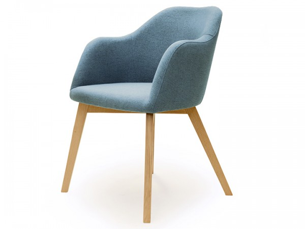 Schalenstuhl Stuhl Theo Sessel mit Armlehne Eiche Stoff Eisblau