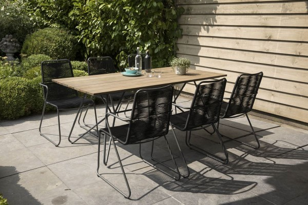 Exotan Tischgruppe Slimm 7 teilig Stahl Anthrazit Outdoor