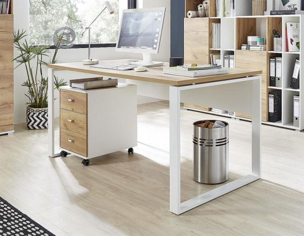 Schreibtisch Leo Weiss Eiche Dekor 158cm breit