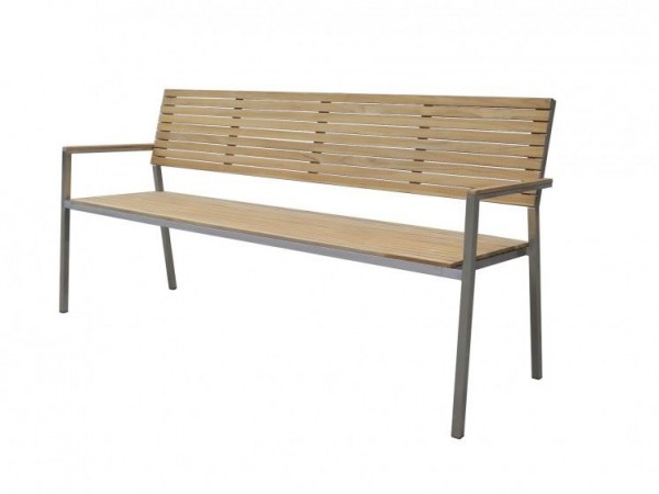 Garten Sitzbank Dallas 4 Sitzer Edelstahl Teak FSC 100% 180 cm breit
