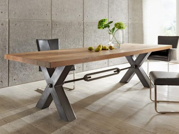 Design Esstisch / Massivholztisch Kansas Eiche Stahlgestell von Bodahl