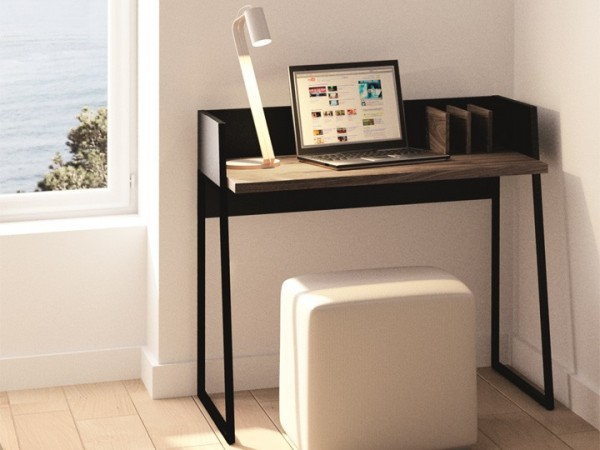 Schreibtisch Temahome Volga Schwarz & Nussbaum 90x60cm