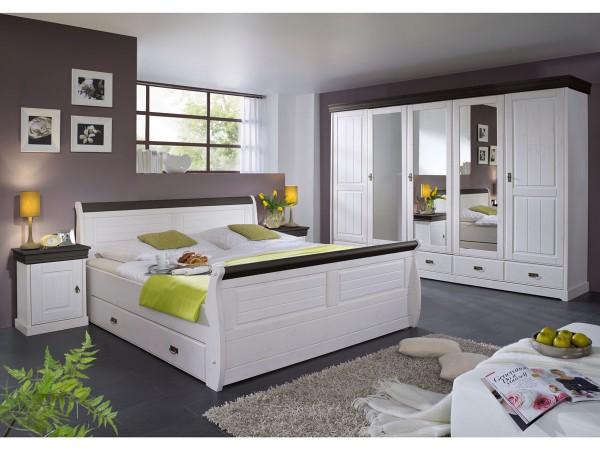 Schlafzimmerset Melina 4 teilig Kiefer massiv weiß kolonial