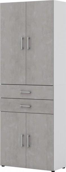 Aktenschrank direct Weiß Front Beton 6 Ordnerhöhen 4 türig 2 SK