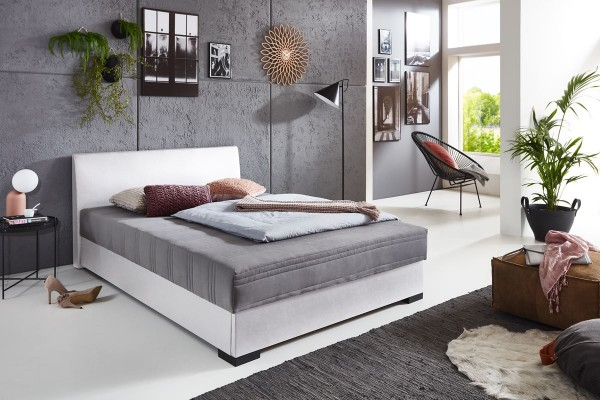Polsterbett Boxspring Design Mels 140x200 cm Weiß mit Bettkasten