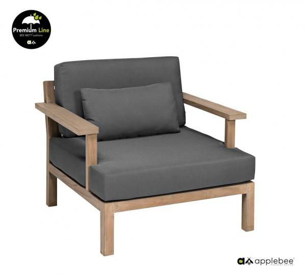 Apple Bee XXL Factor Gartensessel Lounge Sessel Teak Antik 90cm breit Grau