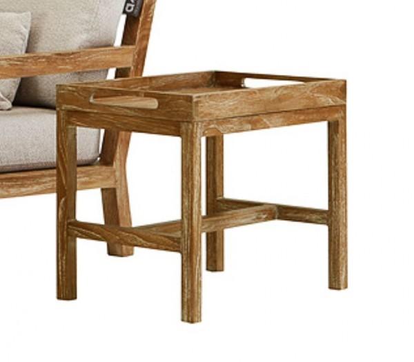 Apple Bee Olive Gartentisch Lounge Serviertisch Teak White Wash 60x40cm