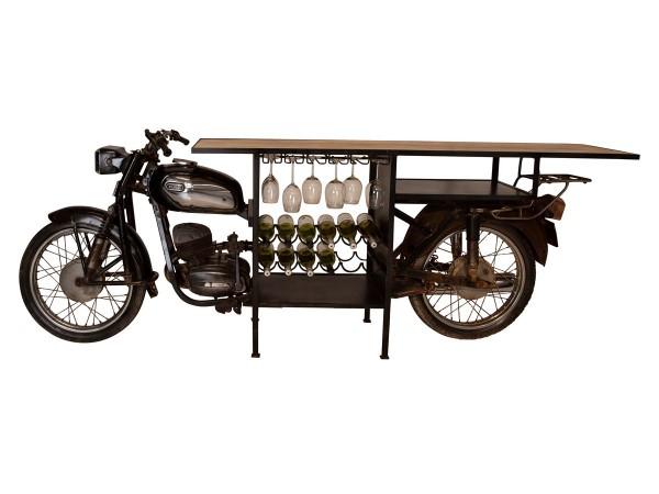 Bartisch Theke Motorrad Rajdoot 280 cm breit schwarz