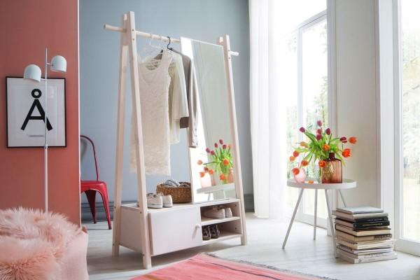 Standgarderobe mit Spiegel Hänga 2 Fichte massiv weiß lasiert 125cm breit