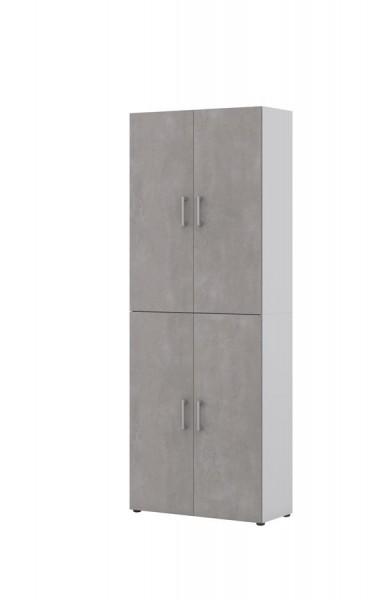Aktenschrank directWeiß Front Beton 6 Ordnerhöhen 4 türig