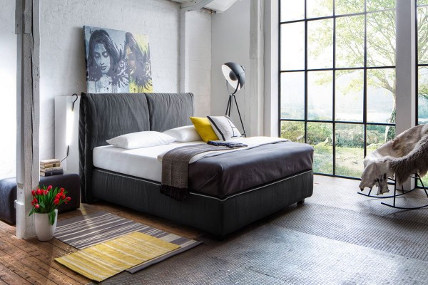 Design Boxspringbett Antonia 180x200 cm anthrazit hellgrau