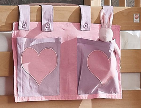 Relita Stofftaschen für Hoch- und Etagenbetten lila/rosa - Herz
