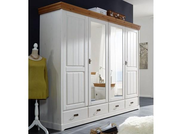Kleiderschrank Melina 4 türig Kiefer massiv weiß gewachst 255cm breit mit Spiegel Abs honigfarbig