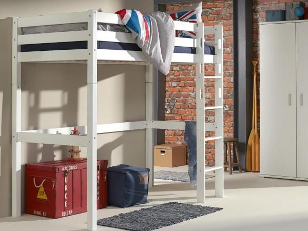 Hochbett Toli Weiß 90x200 cm Kinderbett Buche massiv mit Rollrost