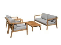 Exotan Gartenmöbel Lucca Lounge Set 4-teilig Teak Olefin Grau