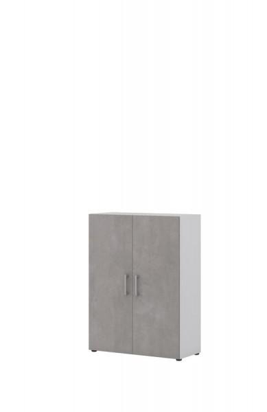 Aktenschrank direct Weiß Front Beton 3 Ordnerhöhen 2 Türen