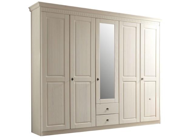 Kleiderschrank Bozen Kiefer massiv weiss 5 türig mit Spiegel