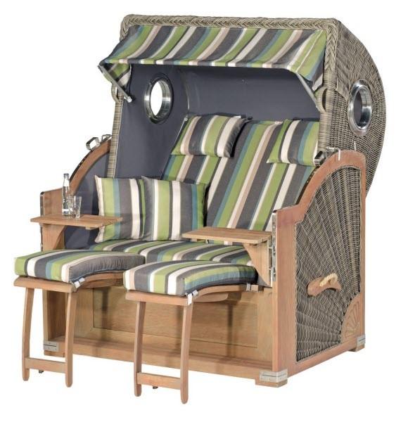 Sunny Smart Strandkorb Rustikal 500 Plus Comfort basalt-grau/grün