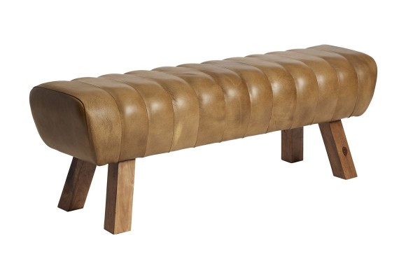 Sitzbank Santos patina braun Leder Mango massiv 132 cm breit by Fuhrhome