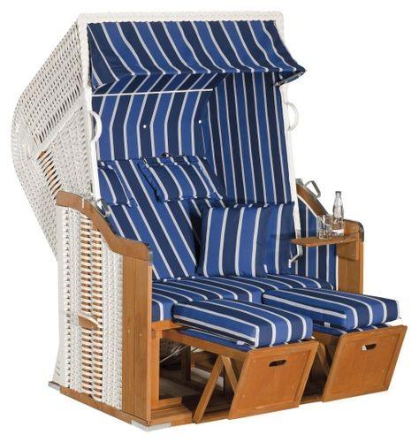 SunnySmart Strandkorb Rustikal 250 Plus weiß/blau