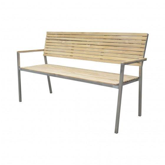 Garten Sitzbank Dallas 3 Sitzer Edelstahl Teak FSC 100% 150 cm breit