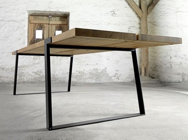 Design Esstisch Gigant 290x100 cm Wildeiche massiv Gestell schwarz