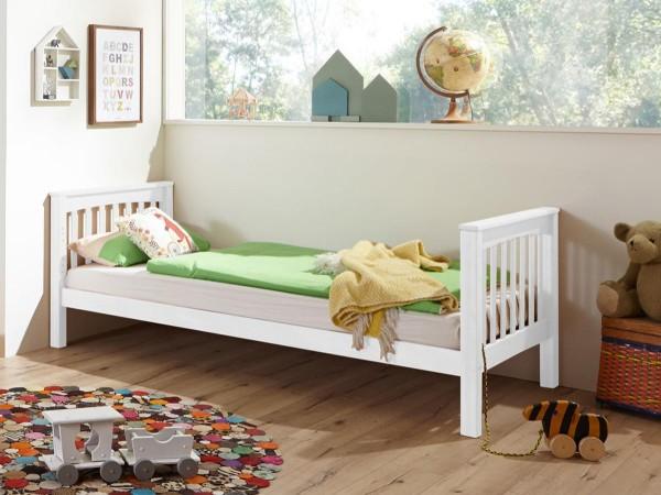 Kinderbett Einzelbett Kick 90x200 cm Buche massiv Weiß