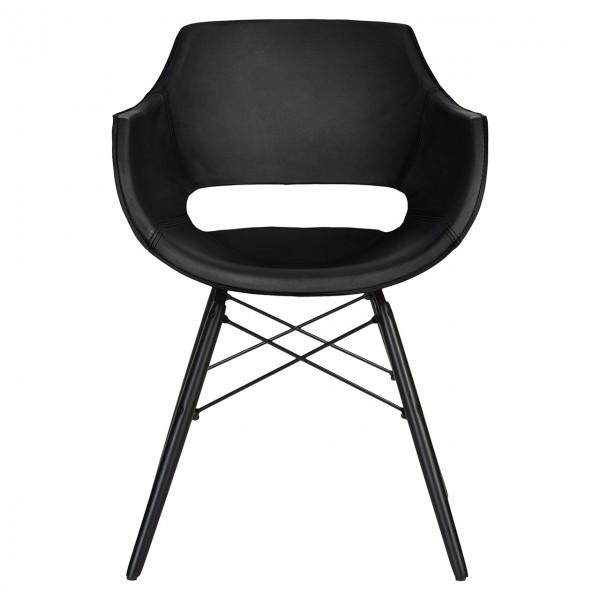 Stuhl Bodahl Jazz 4er Set Leder schwarz Schalenstuhl