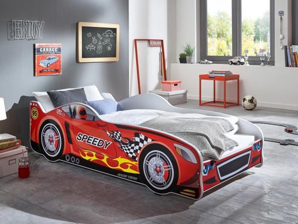 Autobett Speedy rot 80x160 cm + Matratze + Lattenrost
