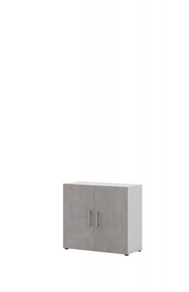 Aktenschrank direct Weiß Front Beton 2 Ordnerhöhen 2 Türen