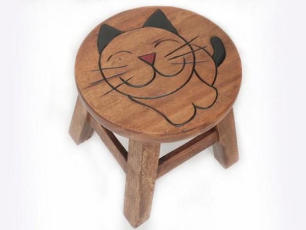 Kinderhocker Flo aus Massivholz Hocker mit Motiv Comic-Katze