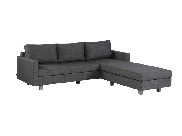 Exotan Bueno Gartensofa 3-Sitzer & Hocker Nanotex Grau