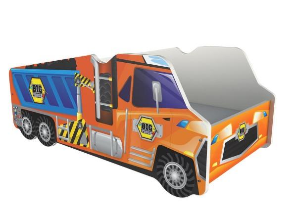 Autobett LKW orange mit Rollrost + Matratze 70x140cm Kinderbett Spielbett