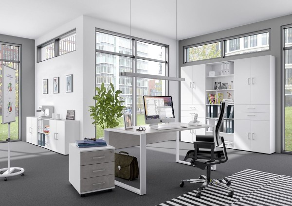 Schreibtisch direct 150 cm Dekor Beton mit Kufenfuß