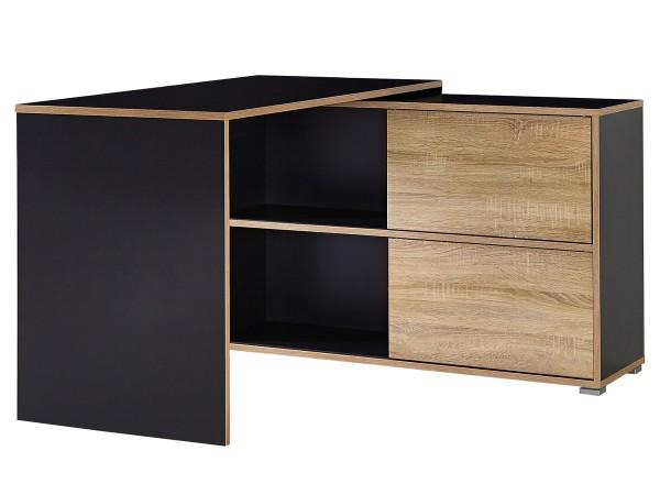 Schreibtisch Nisse mit Sideboard Anthrazit Eiche Dekor