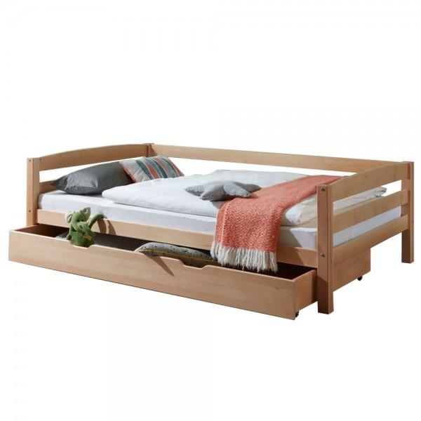 Kinderbett Nora mit Bettkasten 120x200cm Buche massiv Natur