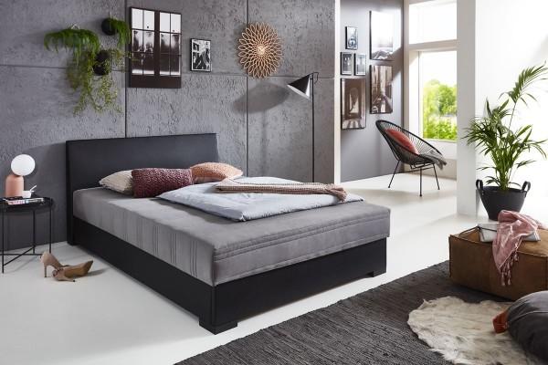 Polsterbett Boxspring Design Mels 140x200 cm Anthrazit mit Bettkasten