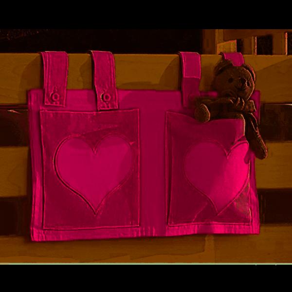 Relita Stofftaschen für Hoch- und Etagenbetten pink/rosa - Herz