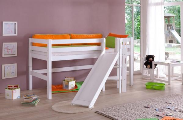Relita Spielbett Eliyas in Weiß + Leiter und Rollrost