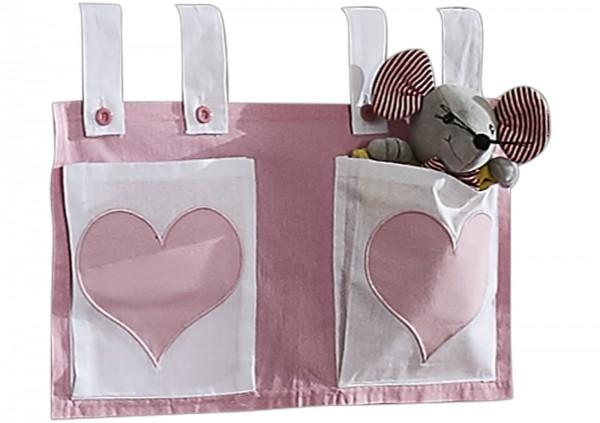 Relita Stofftaschen für Hoch- und Etagenbetten rosa/weiß - Herz
