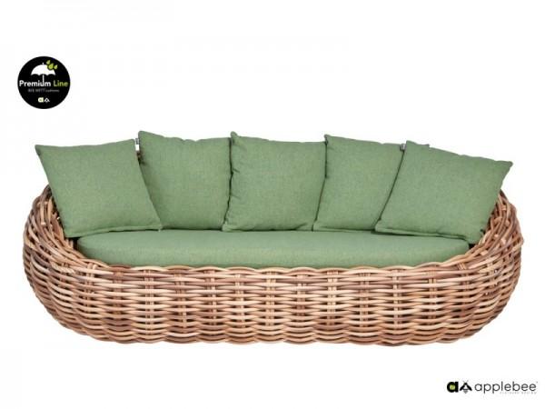 Apple Bee Cocoon Designer Gartensofa, Lounge Sofa 3-Sitzer Geflecht grün 236cm breit
