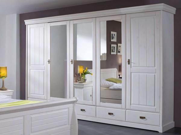 Kleiderschrank Melina 5 türig Kiefer massiv weiß gewachst 315cm breit mit Spiegel