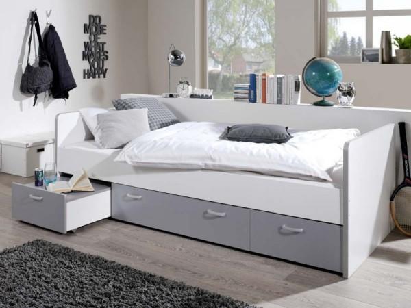 Bett Bonny Kinderbett 90x200 cm mit Stauraum Silber