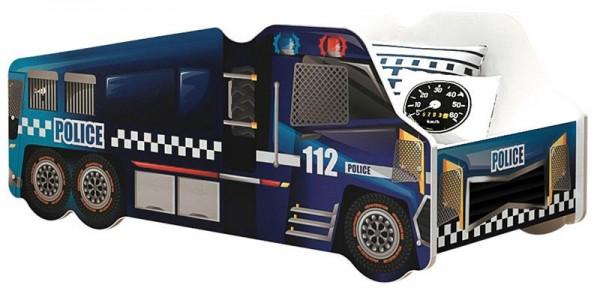 Autobett Police mit Rollrost + Matratze 70x140 cm blau Kinderbett Spielbett